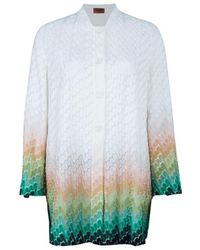 Missoni Wave Knit Multicolour Button Down Long Cardigan - White