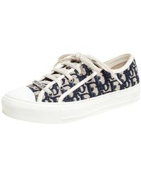 Dior Navy Blue Embroidered Cotton Oblique Motif Walk'n' Low Top Sneakers
