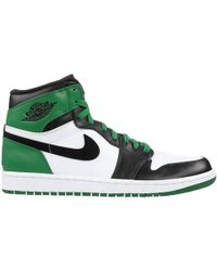 Nike Air Jordan 1 X Tricolor Leather Retro Celtics High Top Sneakers Size 43.5 - Green