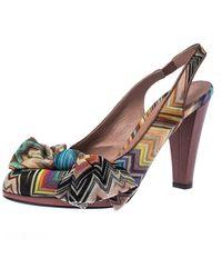 Missoni Multicolor Knit Fabric Bow Slingback Sandals