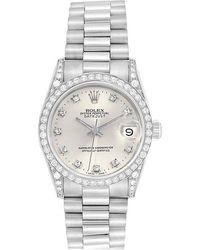 Rolex Silver Diamonds 18k White Gold President Datejust 68159 Women's Wristwatch 31 Mm - Metallic