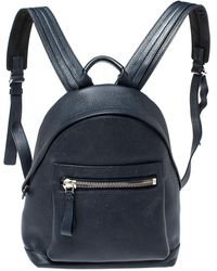 Tom Ford Navy Blue Leather Buckley Backpack