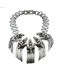 Mawi Gunmetal Tone Flapper Fringe Choker Necklace - Metallic