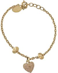 Dior Gold Tone Crystal Pavé Pop Heart Charm Bracelet - Metallic