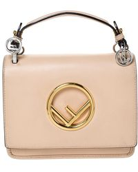 Fendi Beige Leather Small Kan I F Shoulder Bag - Natural