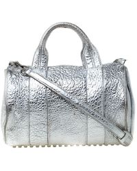 Alexander Wang Silver Pebbled Leather Rocco Duffel Bag - Metallic
