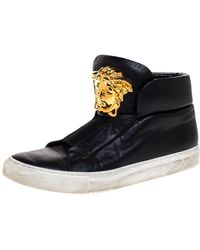 Versace Black Leather Palazzo Medusa High Top Trainers