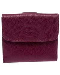 Longchamp Magenta Leather Flap Compact Wallet - Pink