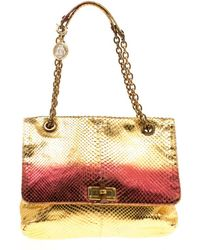 Lanvin - /metallic Red Python Happy Shoulder Bag - Lyst