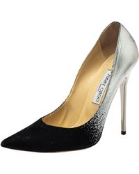 Jimmy Choo Black/silver Suede And Leather Anouk Court Shoes