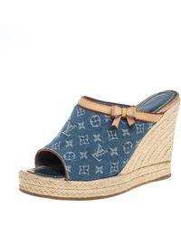 Louis Vuitton Beige/blue Monogram Denim And Leather Espadrille Wedge Mules
