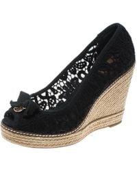 9d3c86f6e11 Black Crochet Jackie Peep Toe Platform Wedge Sandals Size 39.5