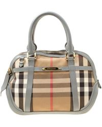 275a99935a76 Burberry - Grey House Check Fabric And Leather Orchard Bowler Bag - Lyst