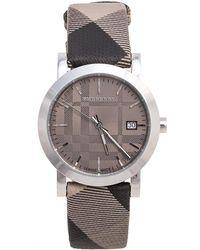 Burberry Grey Stainless Steel Check Leather Heritage Bu1774 Unisex Wristwatch
