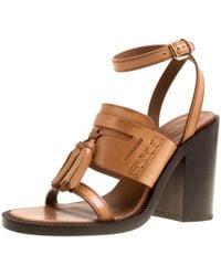 Burberry - Cognac Brown Leather Bethany Tassel Detail Block Heel Sandals Size 39 - Lyst