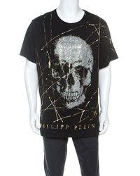 Philipp Plein Black Cotton Crystal Embellished Like Sparks T-shirt