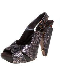 Marc Jacobs Black/bronze Snakeskin Platform Sandals - Brown