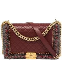Chanel Burgundy Quilted Leather And Tweed Trim New Medium Jacket Boy Flap Bag - Multicolour