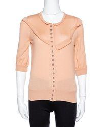 Louis Vuitton Pale Orange Cashmere Button Front Cardigan