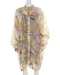 Emilio Pucci - Multicolor Washed Out Printed Cotton And Silk Shirt Dress L - Lyst