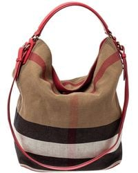 Burberry Multicolour Nova Check Canvas And Leather Ashby Hobo - Brown