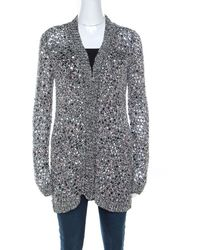 Zac Posen Silver Sequin Embellished Knit Long Sleeve Cardigan - Metallic