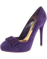 Ralph Lauren Collection Purple Suede Bow Detail Platform Court Shoes