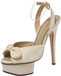 Charlotte Olympia Cream Satin Bridal Edition Serena Bow Platform Sandals Size 35 - Natural