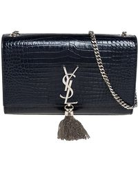 Saint Laurent Saint Laurent Midnight Blue Croc Embossed Leather Medium Kate Tassel Shoulder Bag