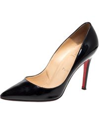 Christian Louboutin Black Patent Leather Pigalle Pointed Toe Court Shoes