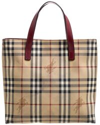 Burberry Beige/burgundy Haymarket Check Coated Canvas Tote - Natural