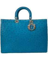 Dior Blue Teal Ostrich Leather Extra Large Lady Bag