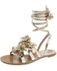 Tory Burch - Light Leather Blossom Floral Embellished Gladiator Sandals - Lyst