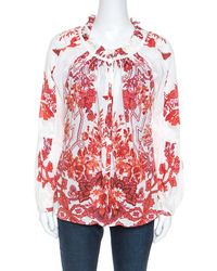 Roberto Cavalli Off White Floral Printed Ruched Detail Shirt