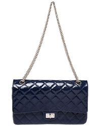 Chanel Blue Quilted Patent Leather Reissue 2.55 Classic 226 Flap Bag