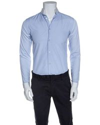 Dior Blue Cotton Contrast Mandarin Collar Button Front Shirt Xs