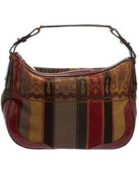 Etro Multicolour Print Canvas And Croc Embossed Leather Hobo - Brown