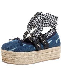 Miu Miu Blue Denim And Leather Lace Up Platform Wedge Espadrilles