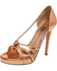 McQ Rose Gold Leather Slip On Sandals - Metallic