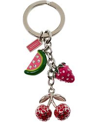 COACH Silver Tone Crystal Fruit Charms Key Ring - Red