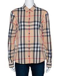 Burberry Brit Beige Nova Check Button Front Shirt - Natural
