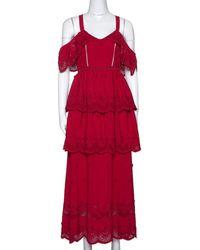 Self-Portrait Self-portrait Raspberry Red Lace Tiered Off Shoulder Dress S