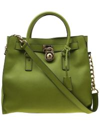 6cbd26255b8703 MICHAEL Michael Kors - Green Leather East West Hamilton Tote - Lyst