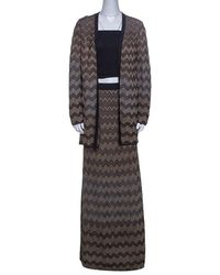 M Missoni Black And Gold Chevron Lurex Knit Skirt And Cardigan Set M