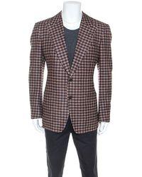 Tom Ford Brown Checked Wool Twill Blazer