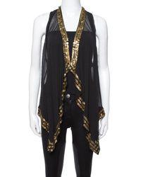 Diane von Furstenberg Black Silk Gold Sequin Embellished Ellowyn Vest