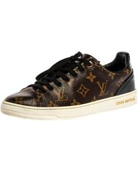 Louis Vuitton Brown Monogram Canvas And Patent Leather Frontrow Low Top Sneakers