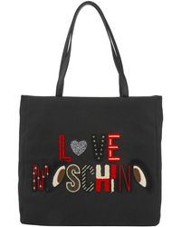 bcaf87489cc9 Moschino - Love Black Canvas Logo Embroidered Shopping Tote - Lyst