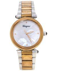 Ferragamo Mother Of Pearl Two-tone Stainless Steel Idillio F76 Wristwatch - Metallic