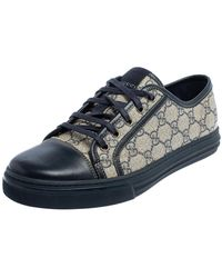 Gucci Beige/blue Supreme Canvas And Leather Cap Toe Low Top Trainer